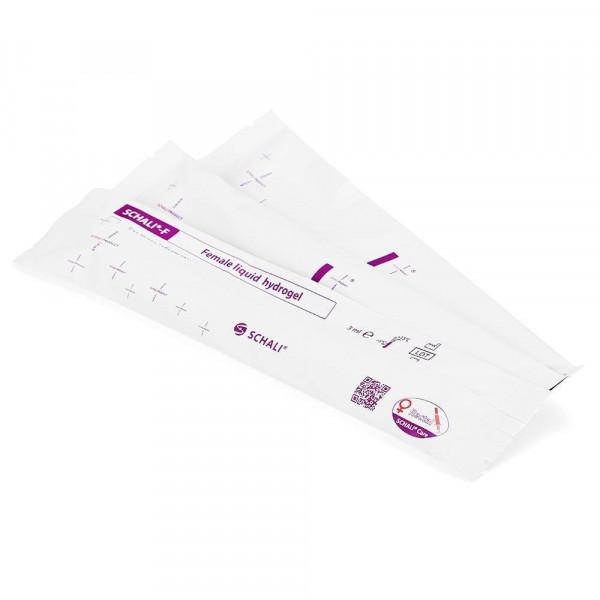 Photo Female liquid vaginal suppositories SCHALI®-FA in disposable single-dose container, backside